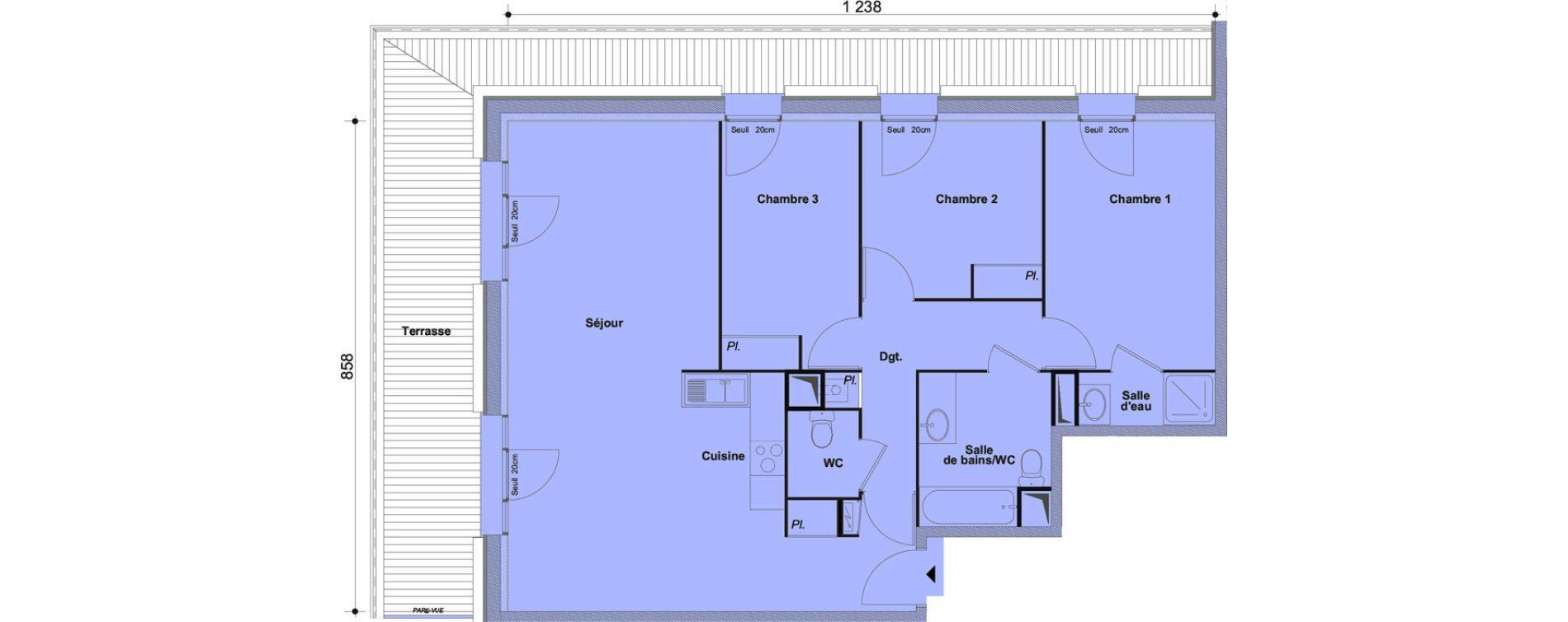 Appartement T4 de 90,22 m2 à Cesson Centre