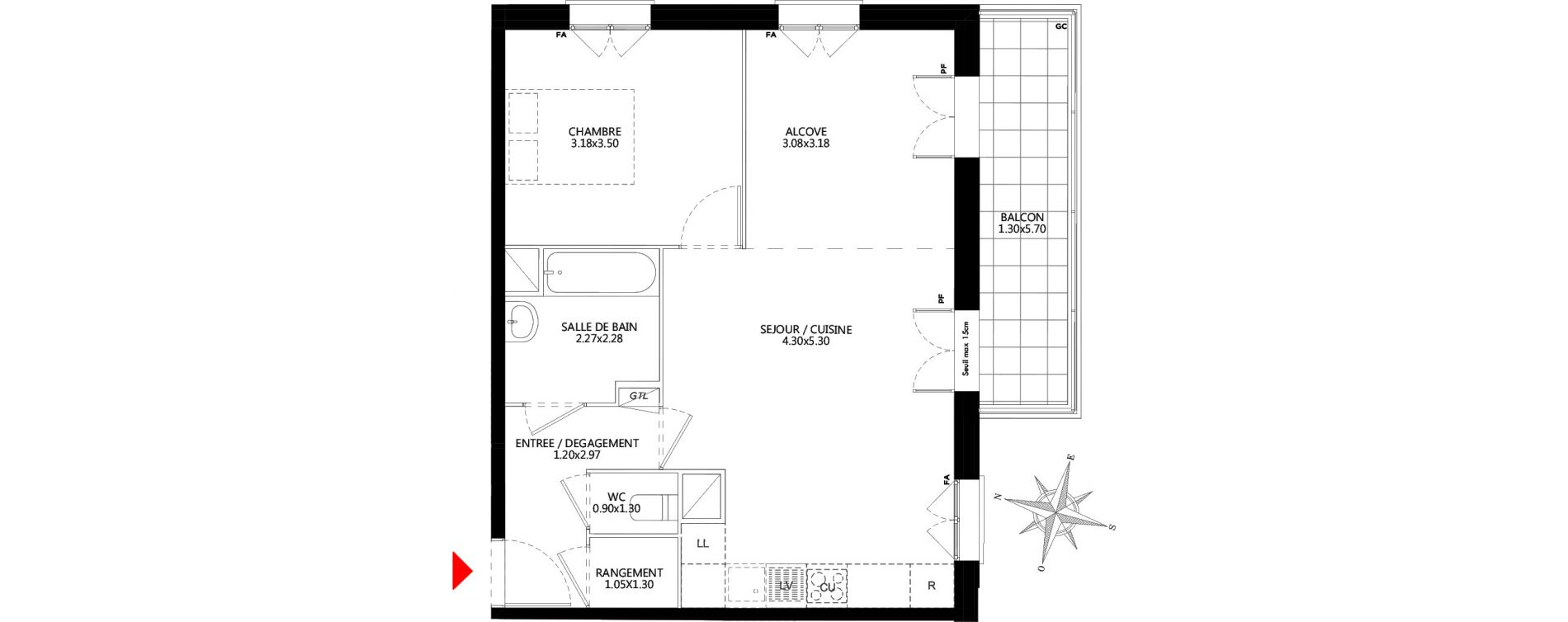 Appartement T2 de 54,47 m2 à Champs-Sur-Marne Champs sur marne nesles