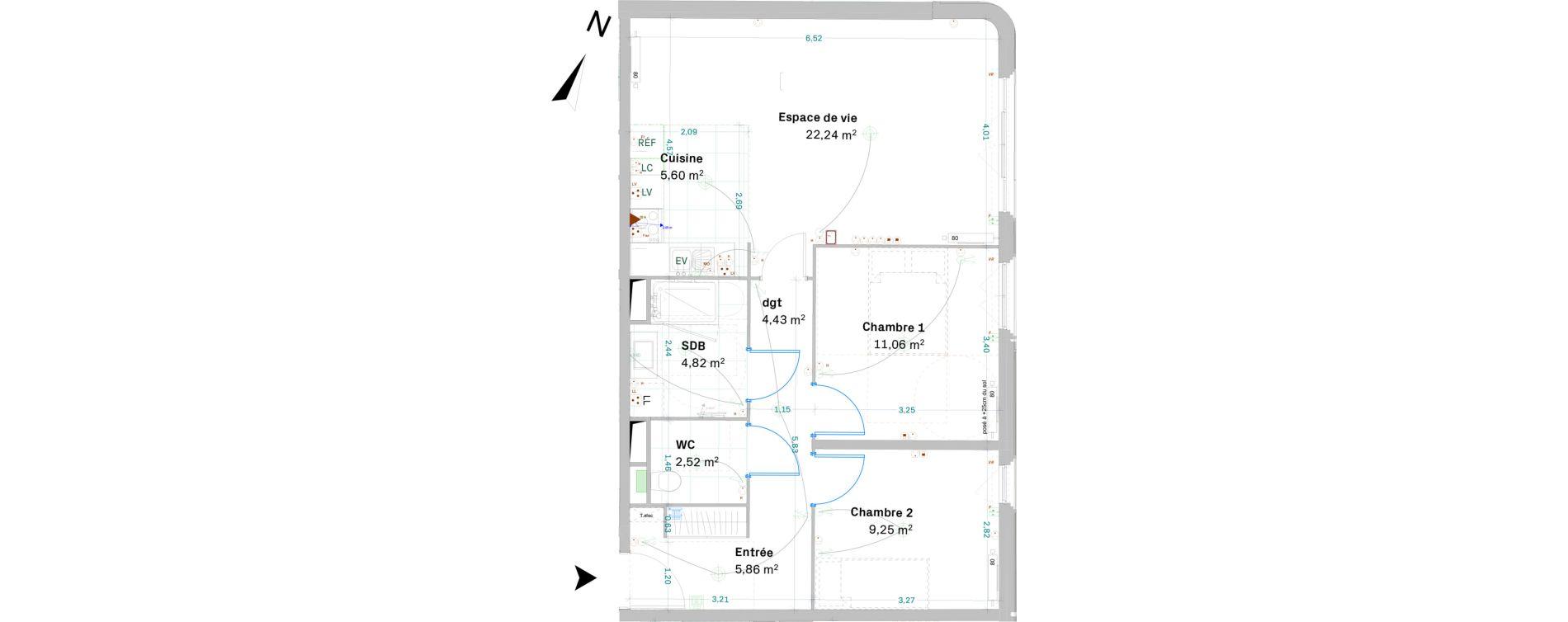 Appartement T3 de 65,78 m2 à Chessy Centre