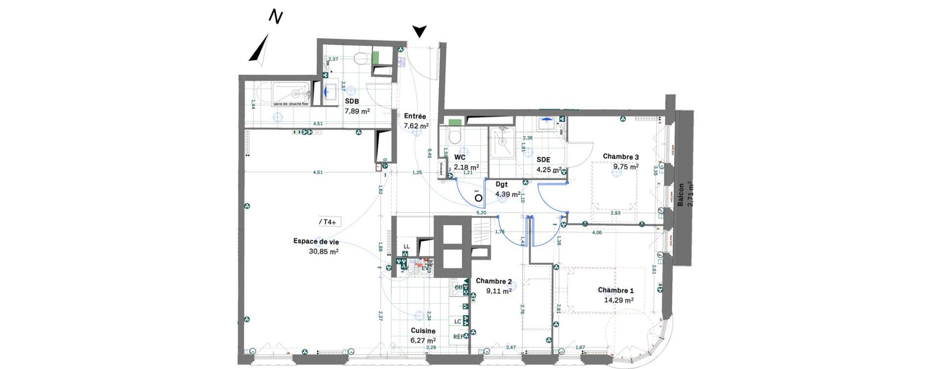 Appartement T4 de 96,60 m2 à Chessy Centre