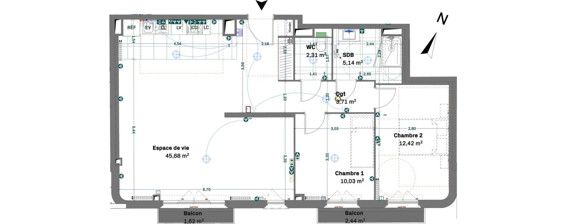 Appartement T3 de 79,29 m2 à Chessy Centre