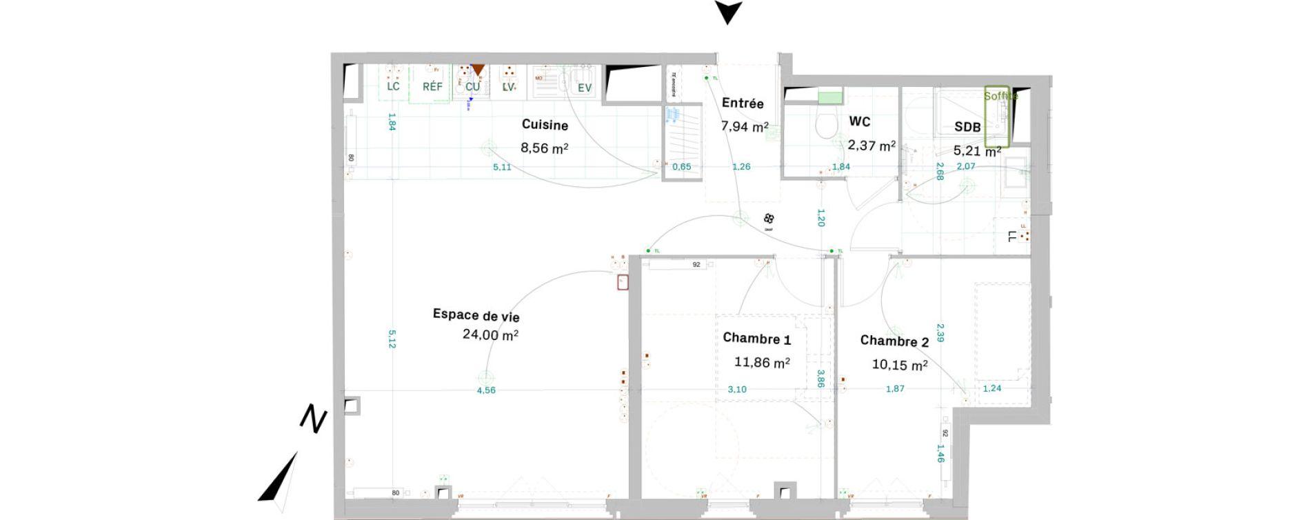 Appartement T3 de 70,07 m2 à Chessy Centre