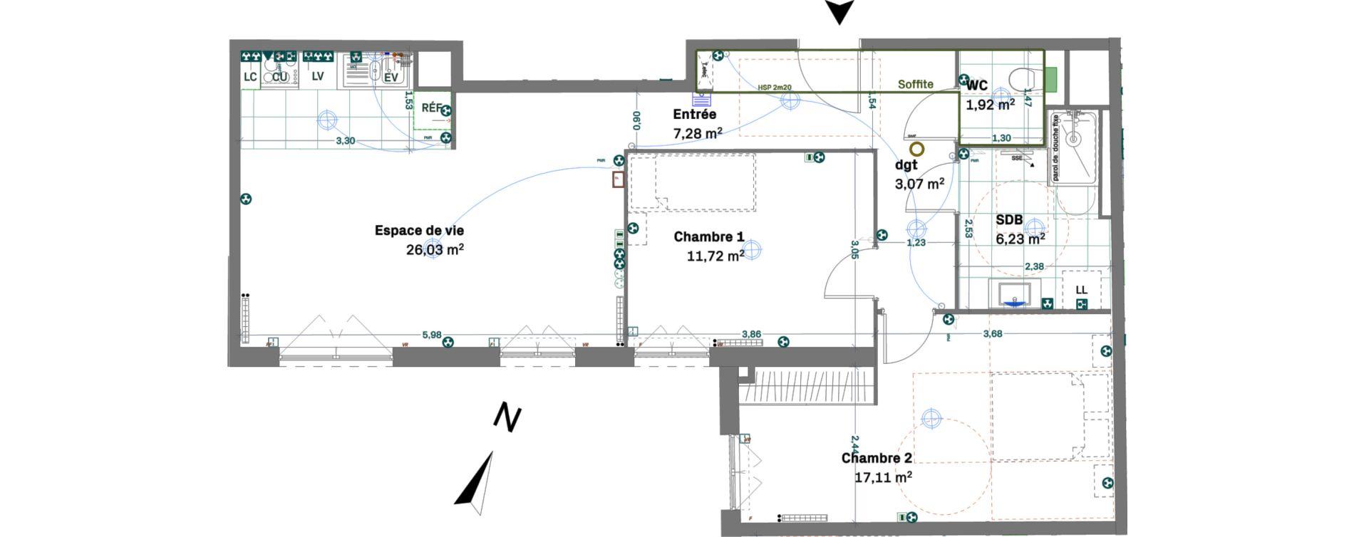 Appartement T3 de 73,36 m2 à Chessy Centre