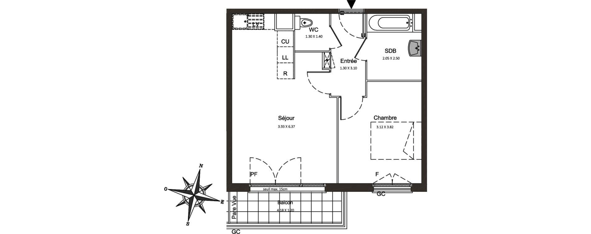 Appartement T2 de 43,53 m2 à Combs-La-Ville Centre