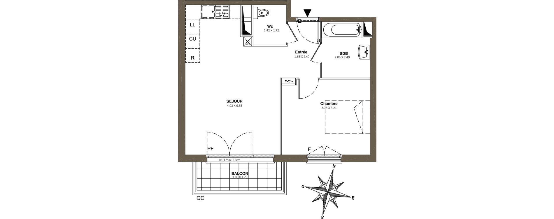Appartement T2 de 45,89 m2 à Combs-La-Ville Centre