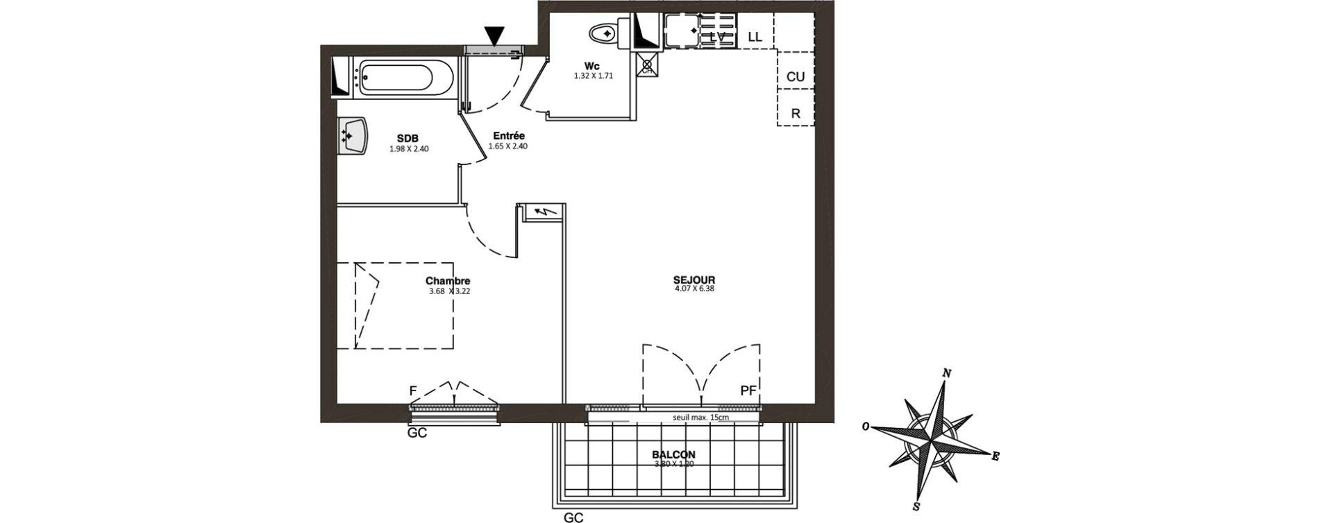Appartement T2 de 45,68 m2 à Combs-La-Ville Centre