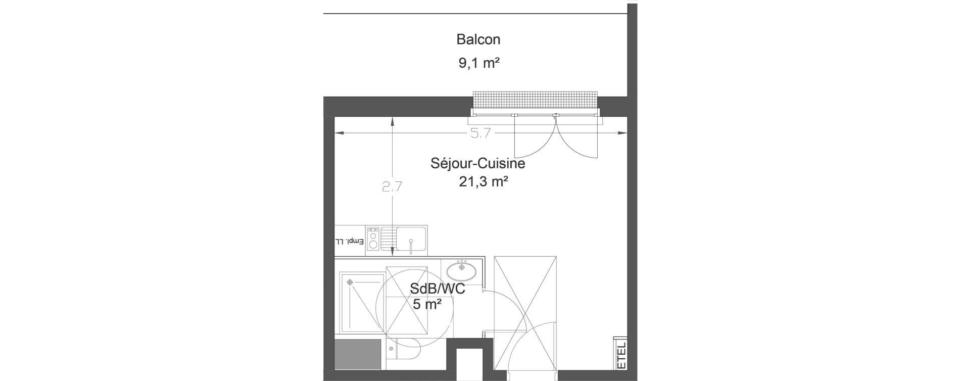 Appartement T1 de 26,30 m2 à Lieusaint Centre-est