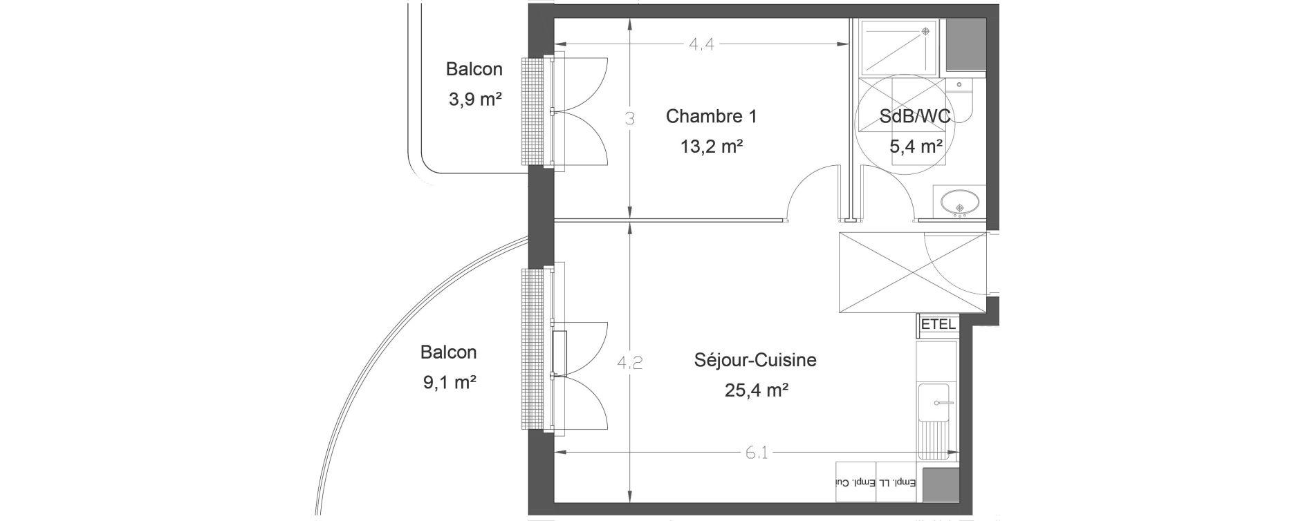 Appartement T2 de 44,00 m2 à Lieusaint Centre-est
