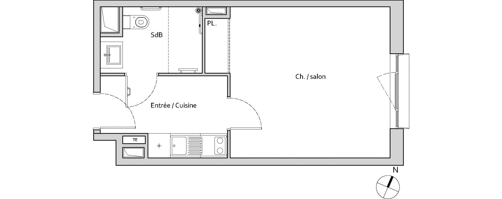 Studio de 29,08 m2 à Lieusaint Carré sénart