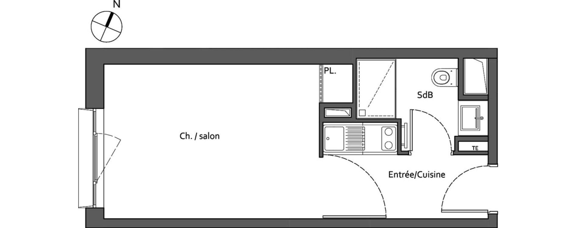 Studio de 23,00 m2 à Lieusaint Carré sénart