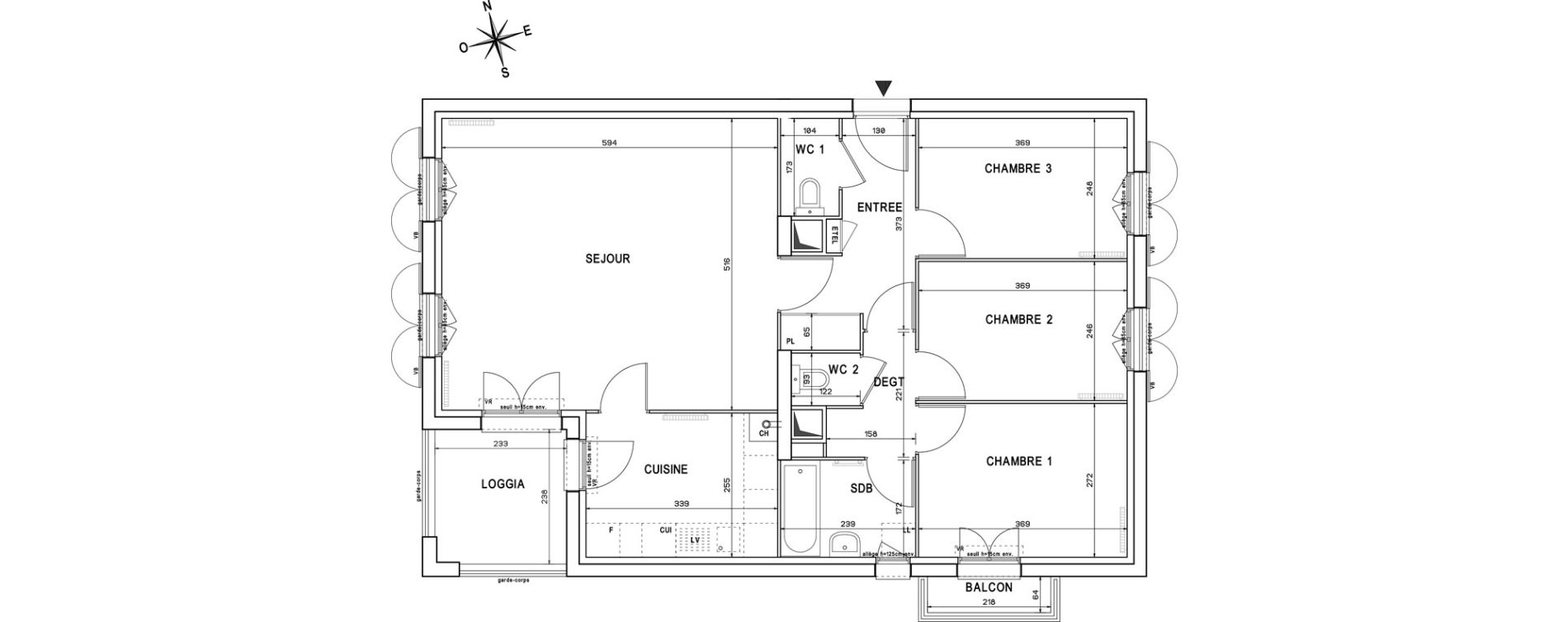 Appartement T4 de 83,98 m2 à Melun Centre