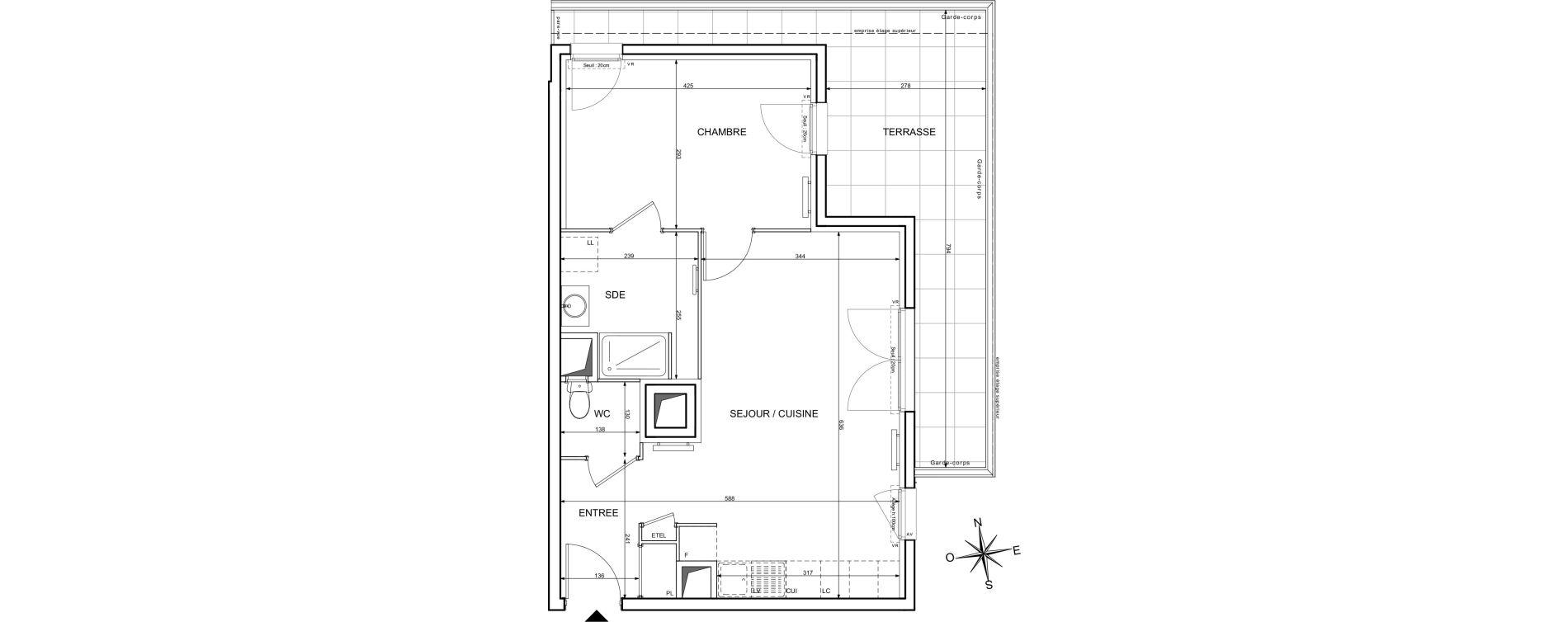 Appartement T2 de 47,16 m2 à Melun Centre