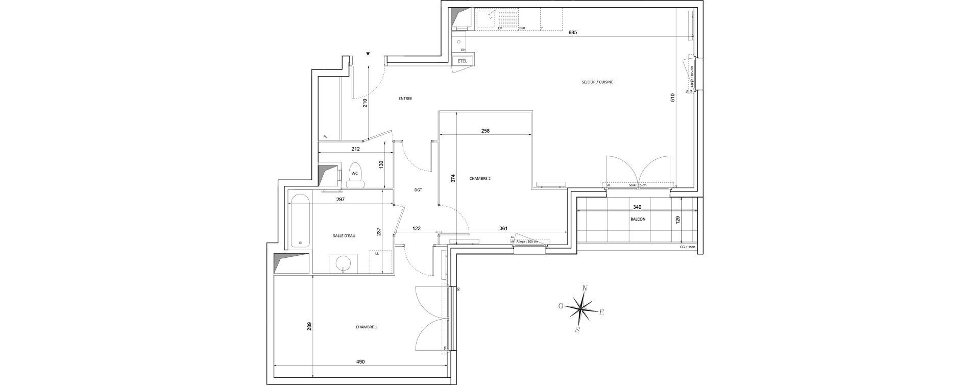 Appartement T3 de 75,71 m2 à Melun Centre
