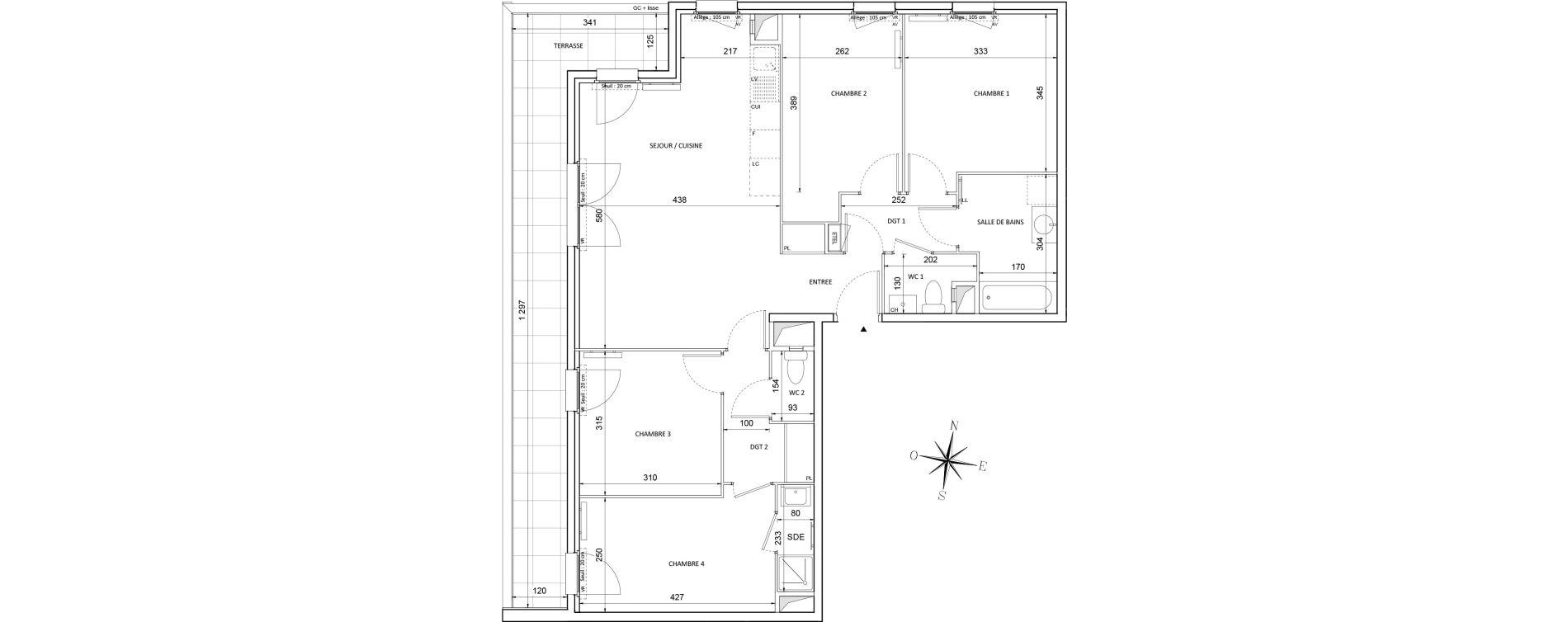 Appartement T5 de 94,11 m2 à Melun Centre