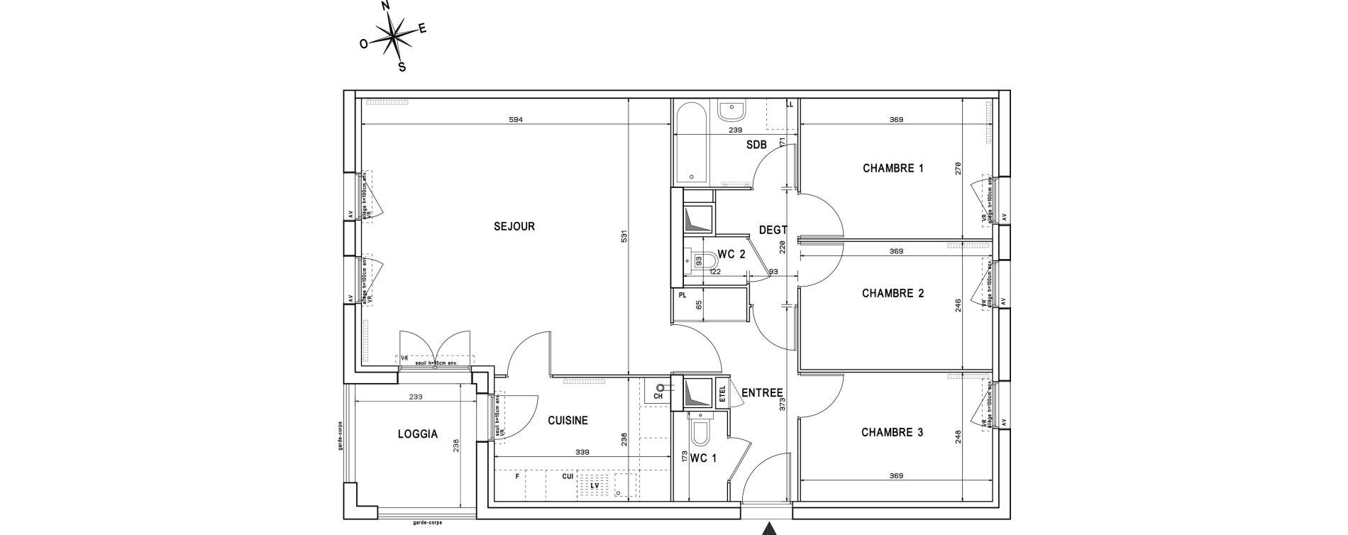 Appartement T4 de 83,76 m2 à Melun Centre