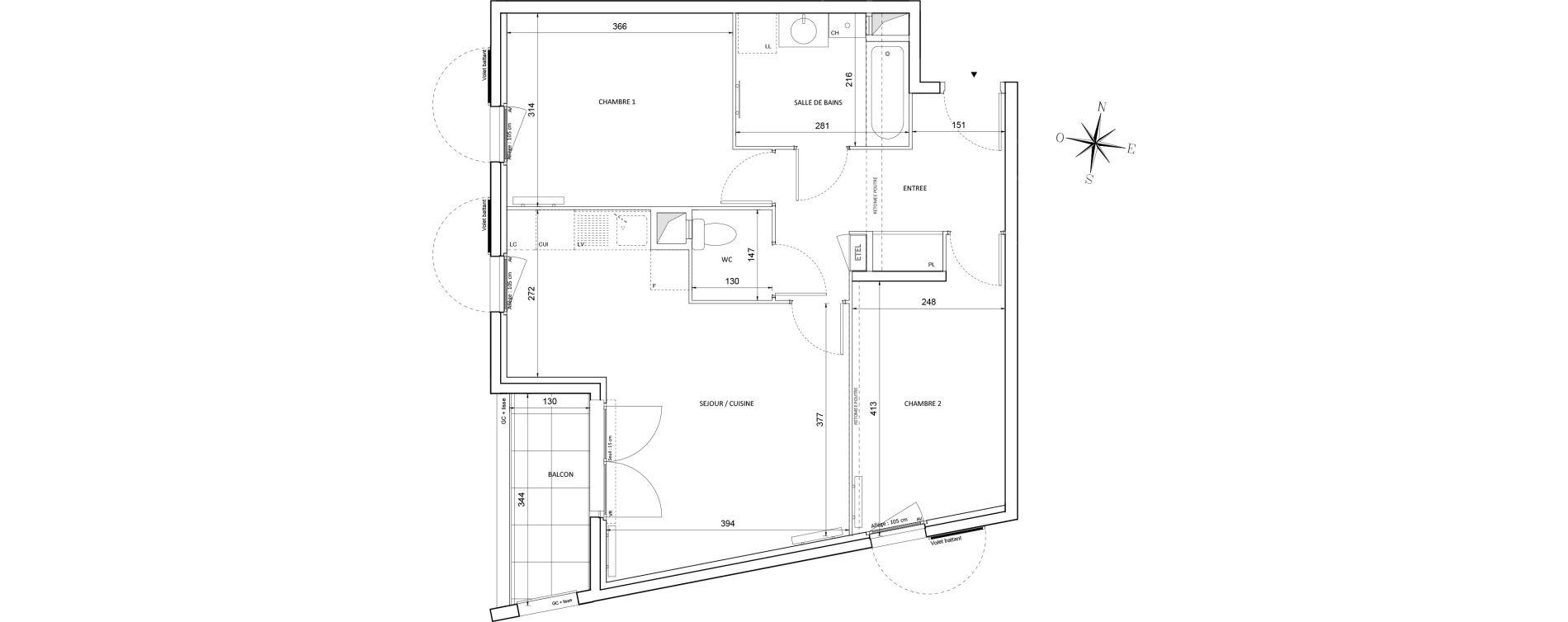 Appartement T3 de 61,04 m2 à Melun Centre