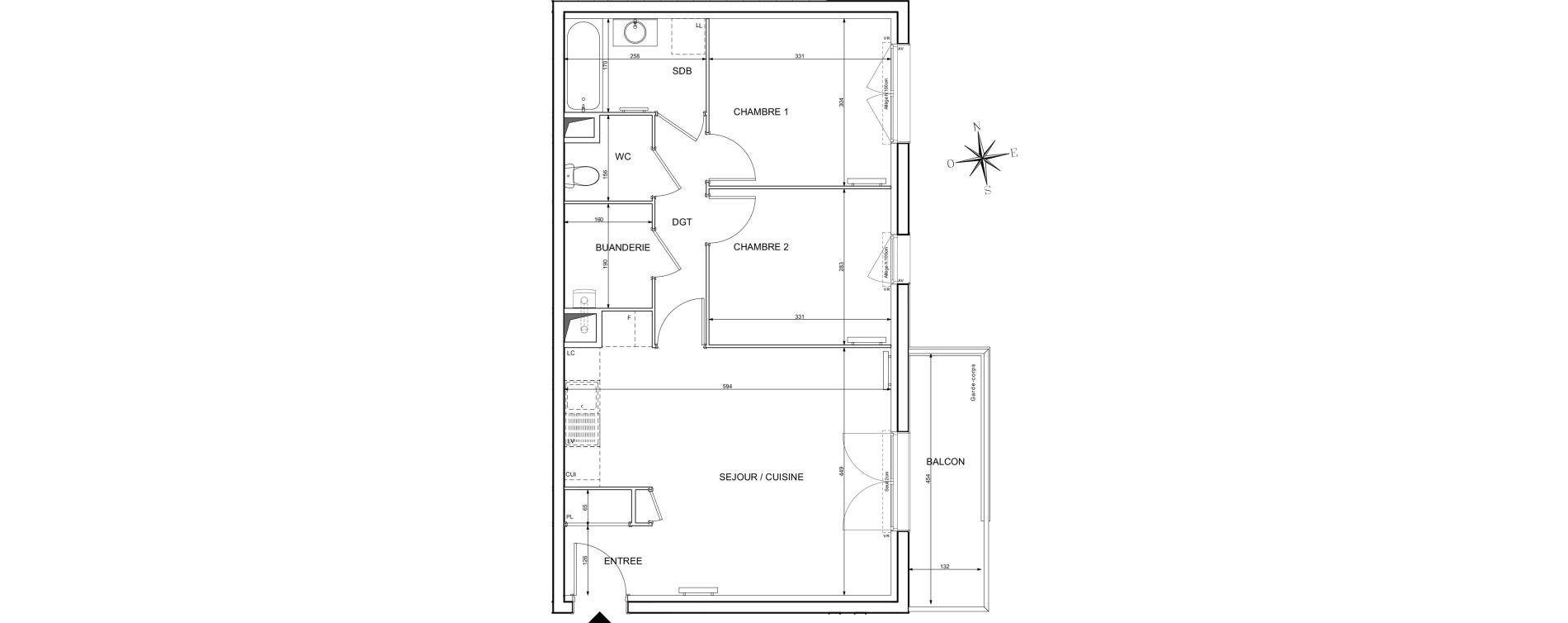 Appartement T3 de 59,92 m2 à Melun Centre