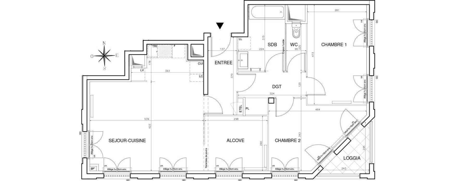 Appartement T3 de 77,67 m2 à Bobigny Centre