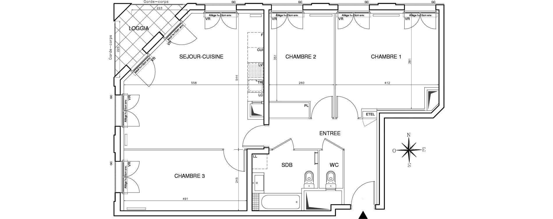 Appartement T4 de 79,77 m2 à Bobigny Centre