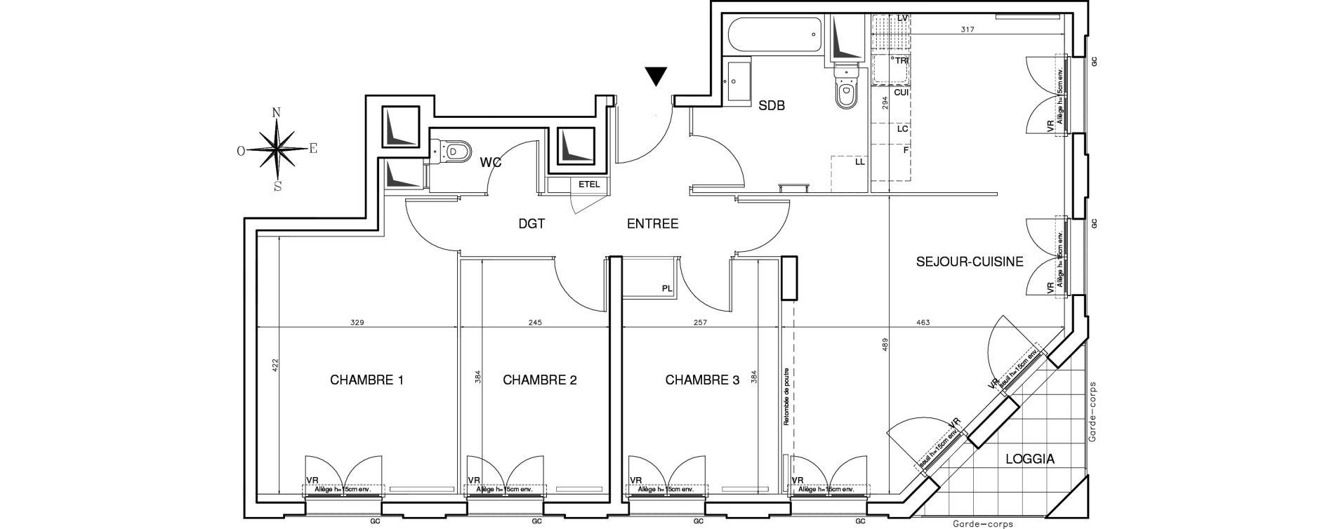 Appartement T4 de 78,26 m2 à Bobigny Centre