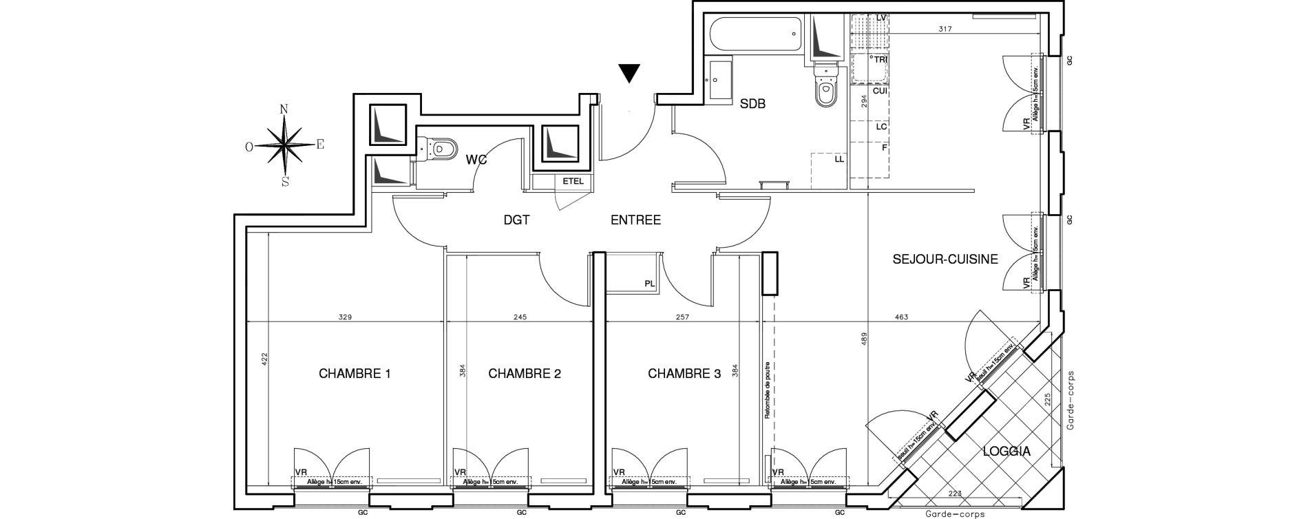 Appartement T4 de 78,28 m2 à Bobigny Centre