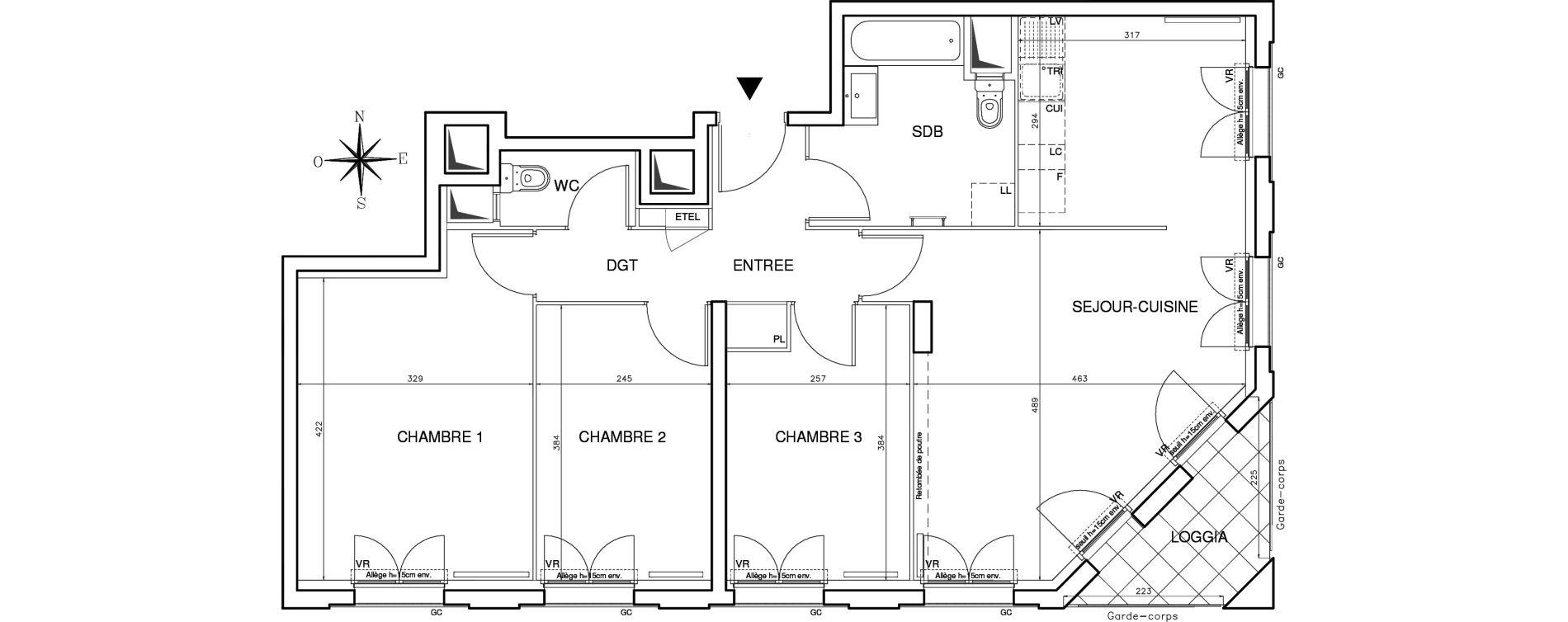 Appartement T4 de 78,27 m2 à Bobigny Centre