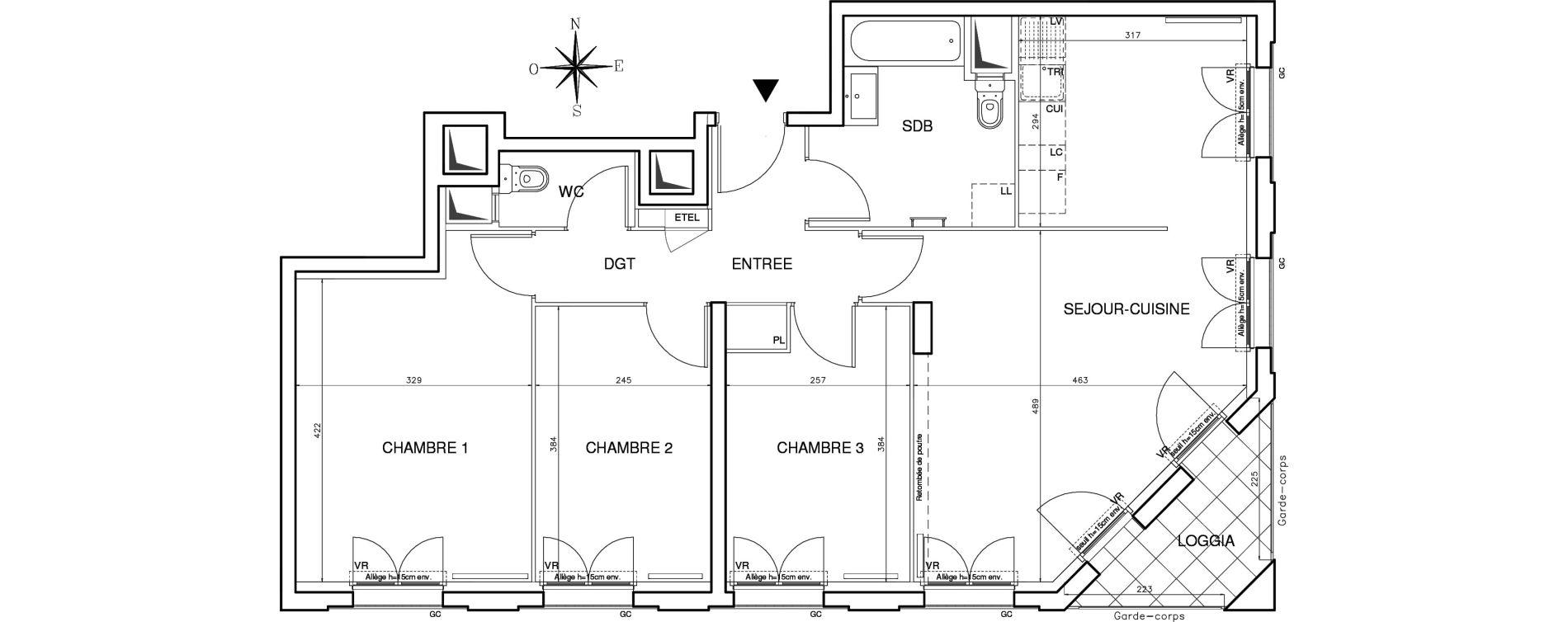 Appartement T4 de 78,29 m2 à Bobigny Centre