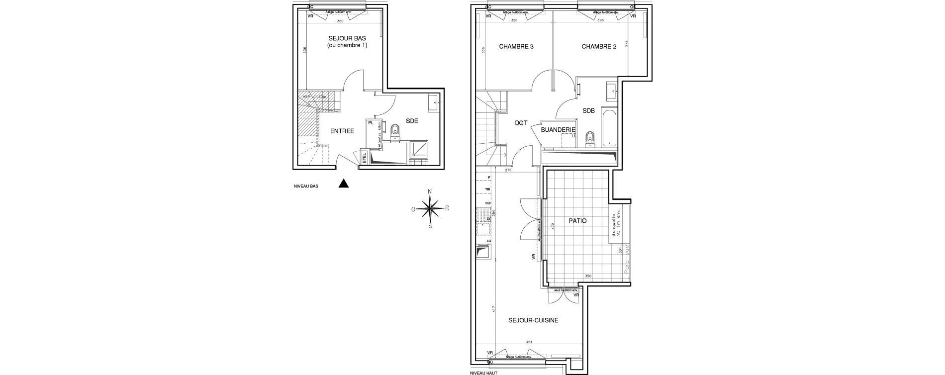 Duplex T4 de 89,55 m2 à Bobigny Centre
