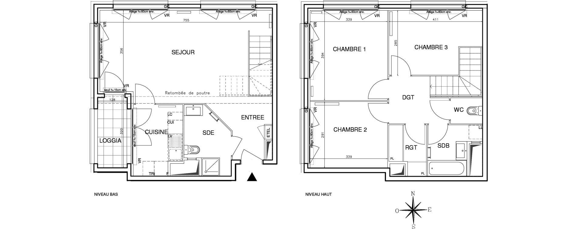 Duplex T4 de 90,45 m2 à Bobigny Centre