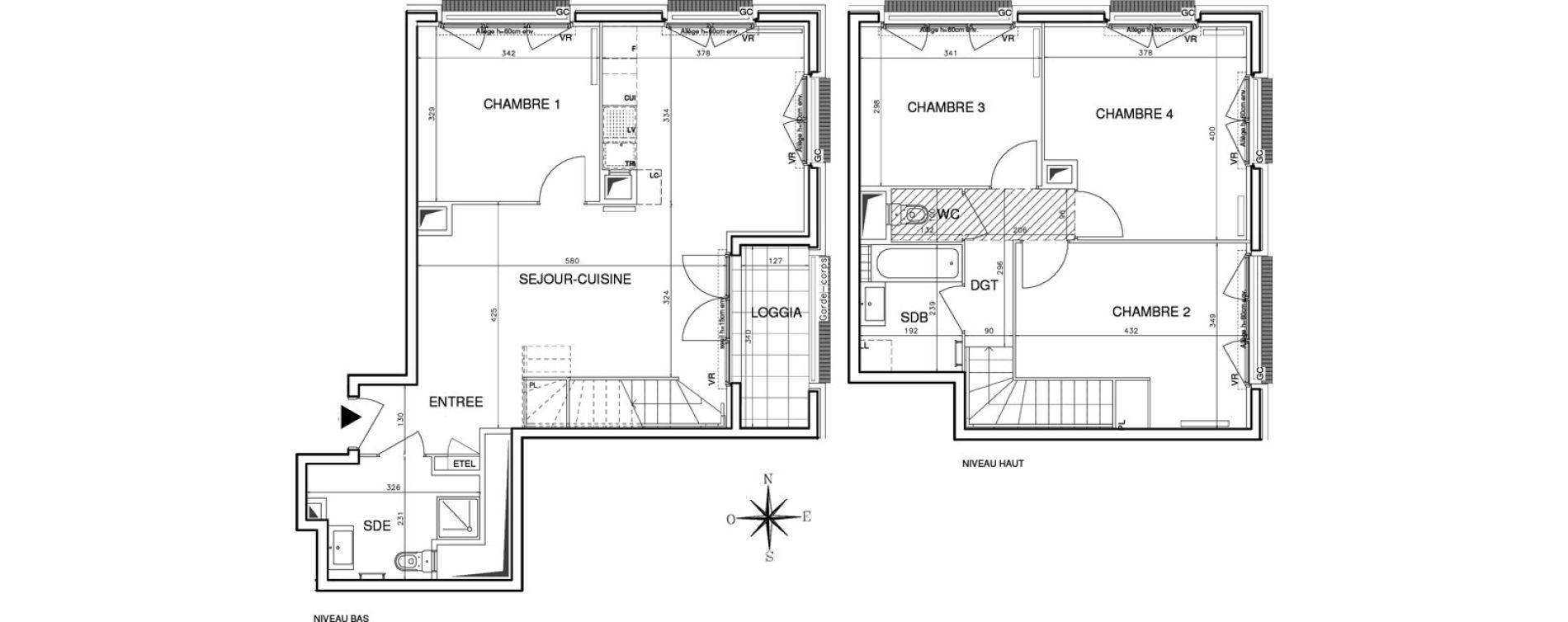 Duplex T5 de 100,37 m2 à Bobigny Centre
