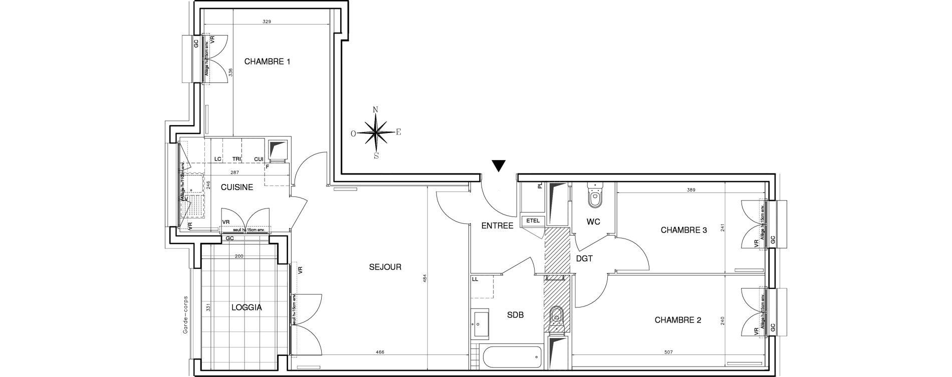 Appartement T4 de 76,81 m2 à Bobigny Centre