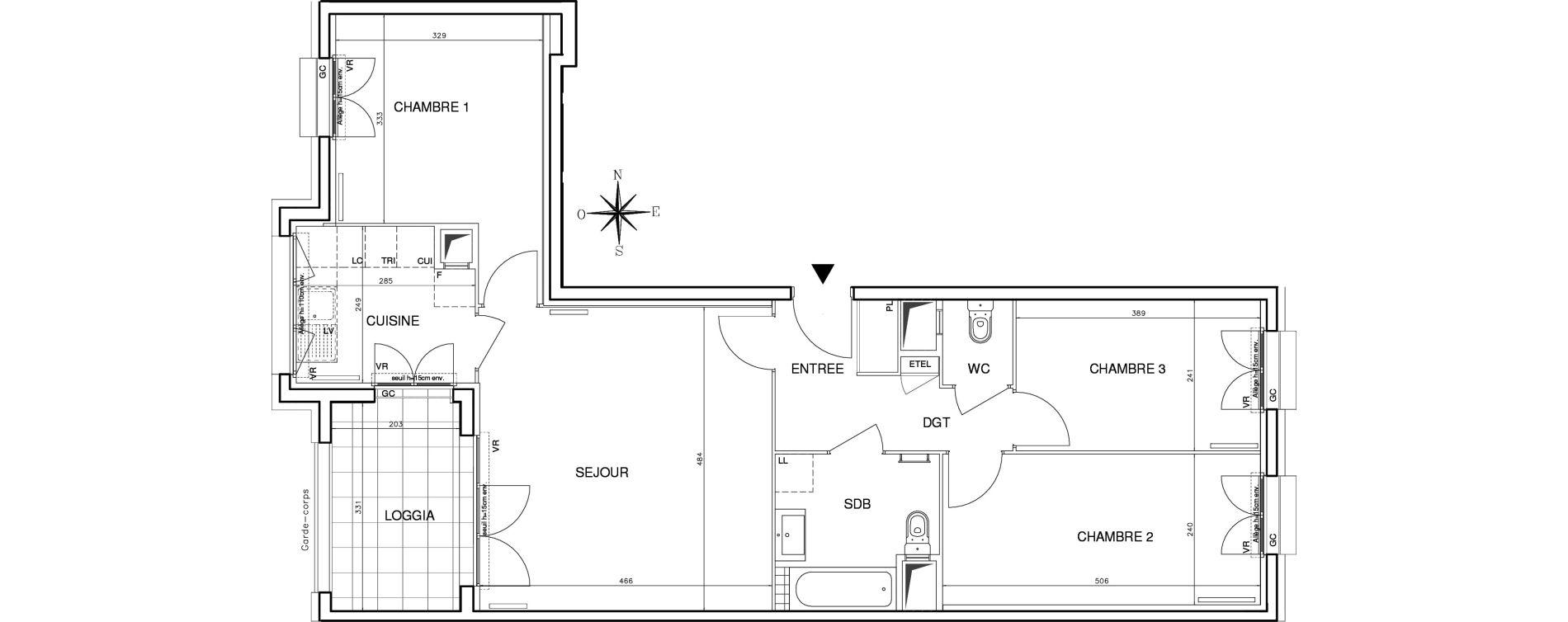 Appartement T4 de 77,08 m2 à Bobigny Centre