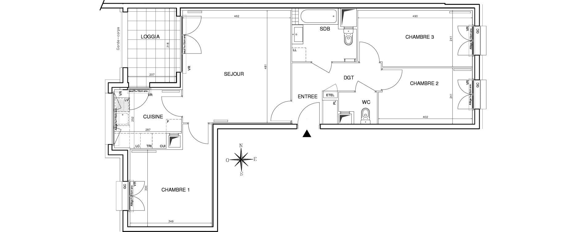 Appartement T4 de 77,72 m2 à Bobigny Centre