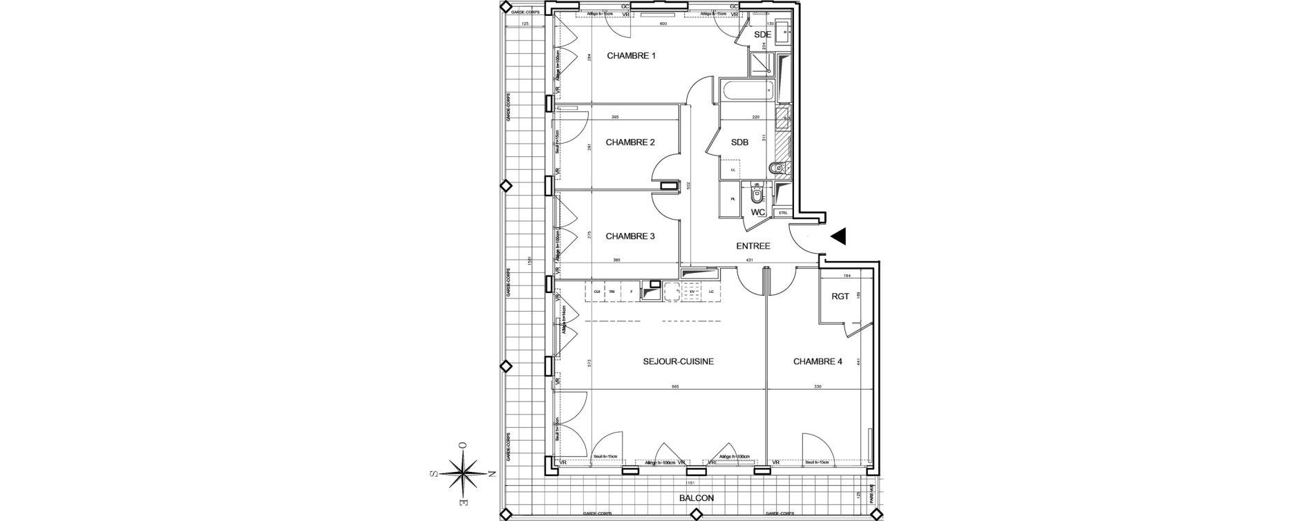 Appartement T5 de 115,59 m2 à Bobigny Centre