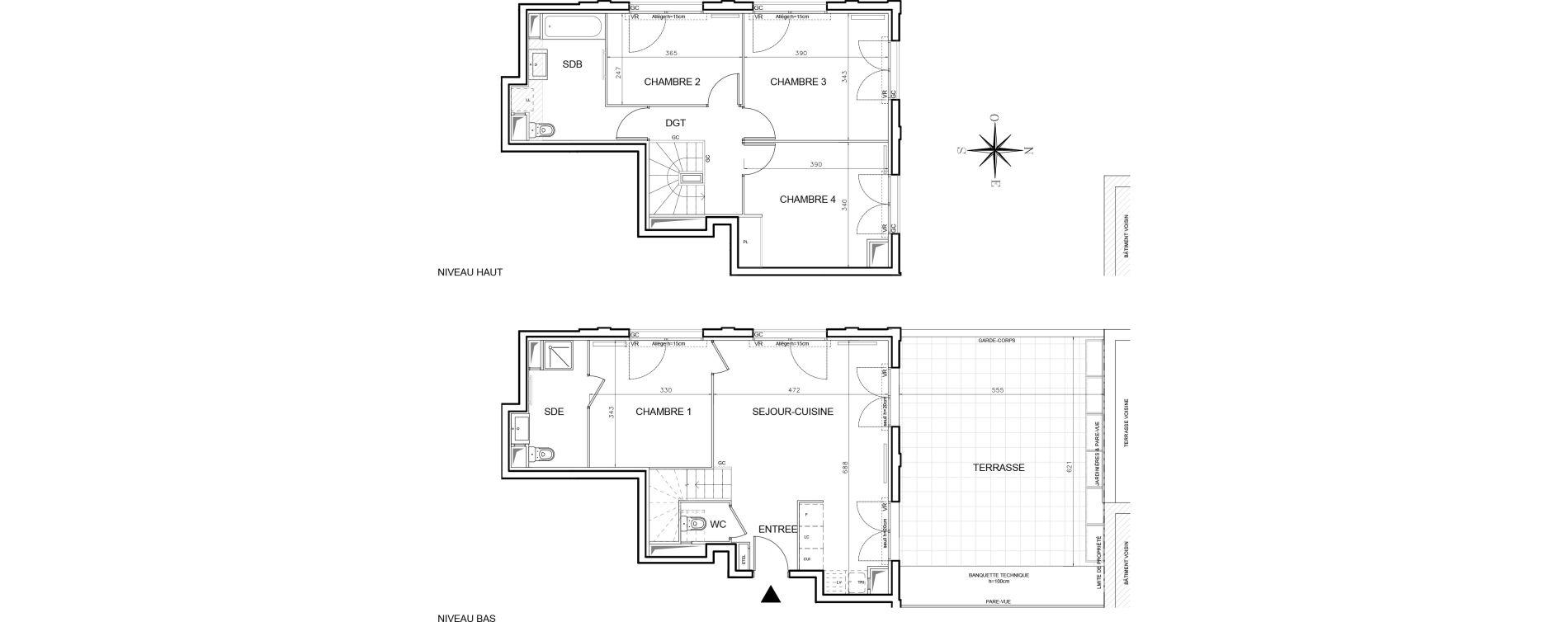 Duplex T5 de 94,52 m2 à Bobigny Centre