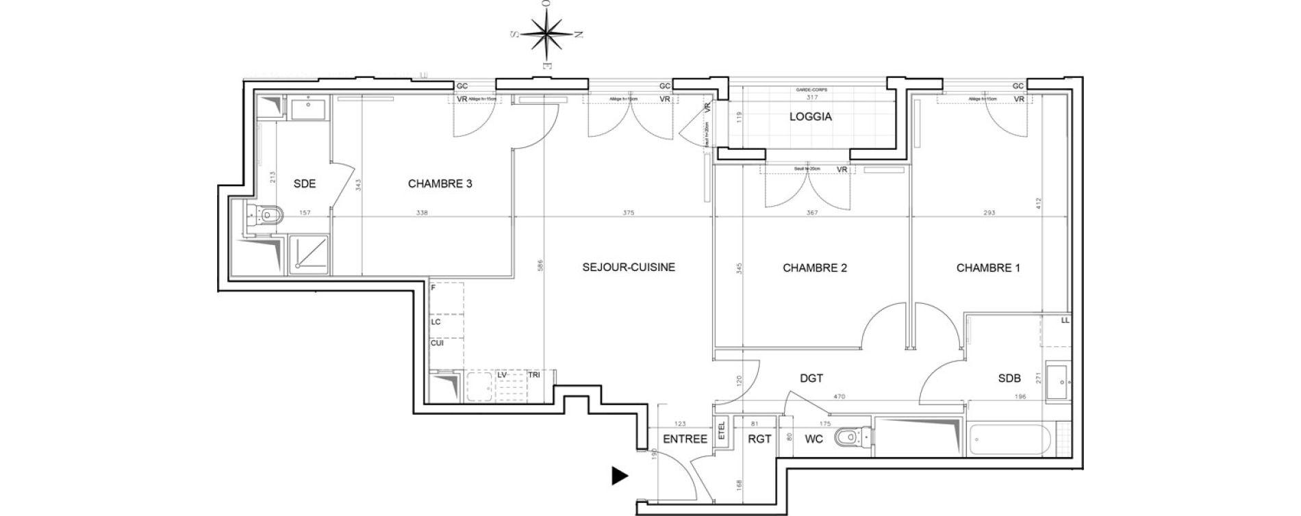 Appartement T4 de 82,68 m2 à Bobigny Centre