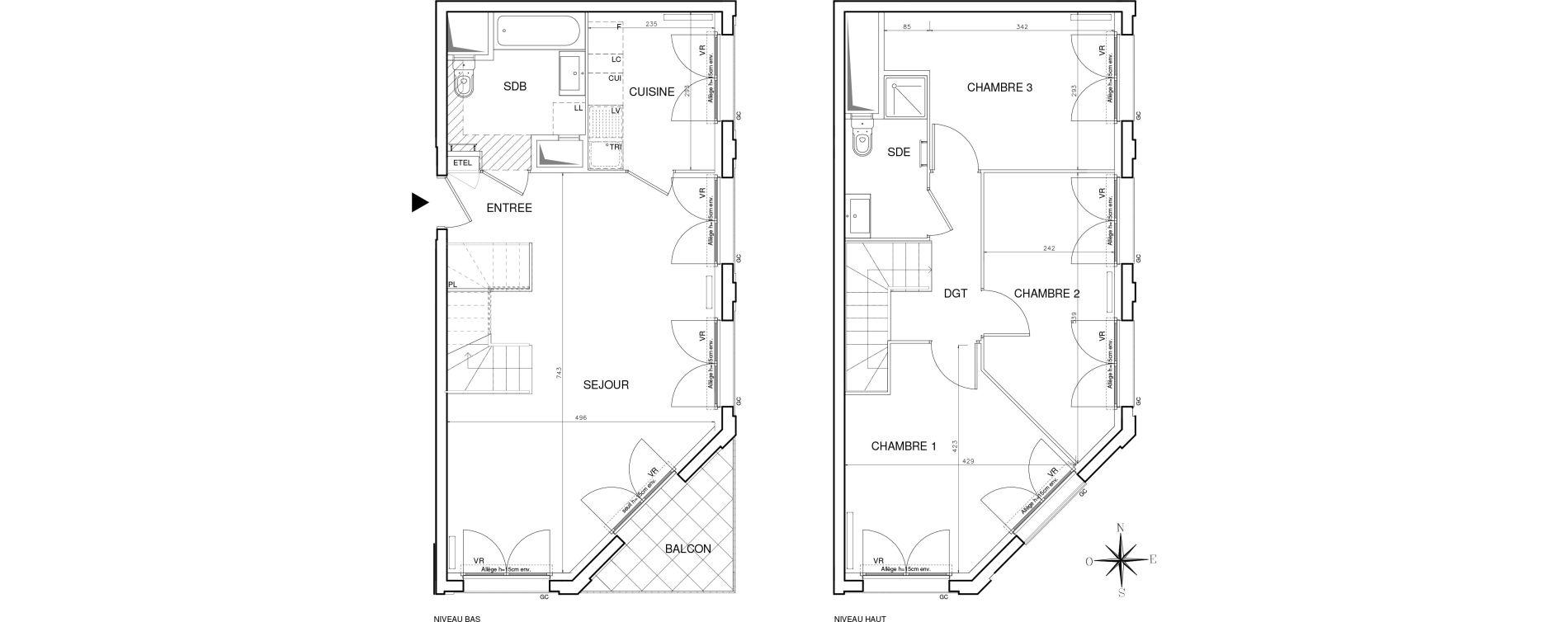 Duplex T4 de 89,08 m2 à Bobigny Centre