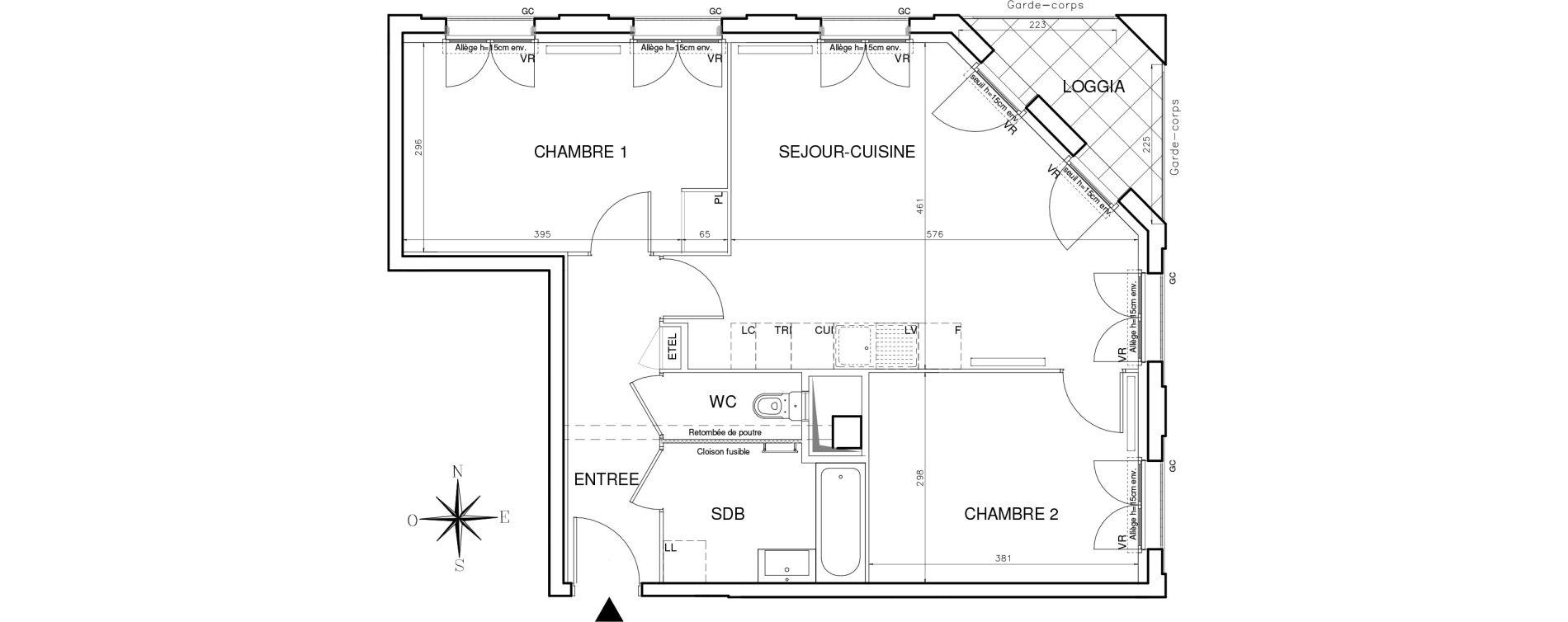 Appartement T3 de 62,37 m2 à Bobigny Centre