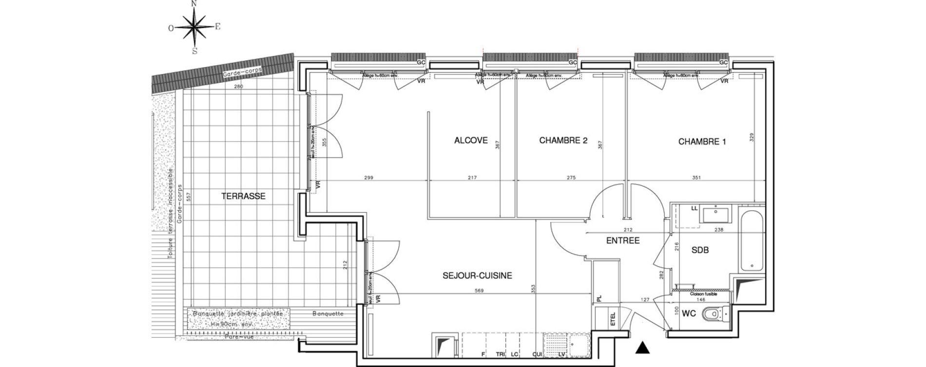 Appartement T3 de 71,70 m2 à Bobigny Centre