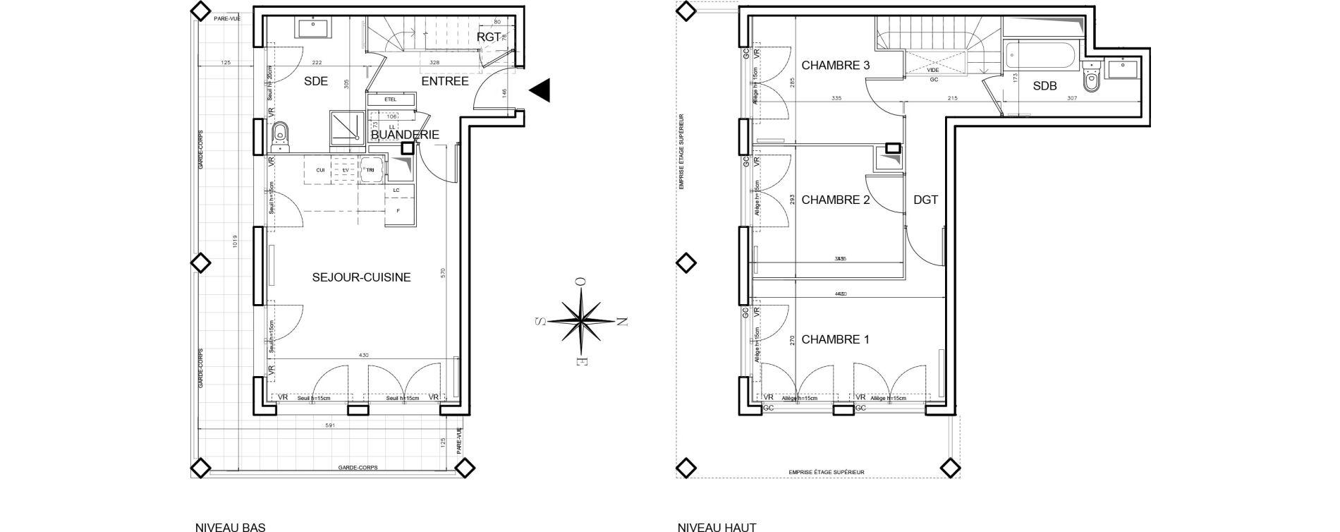 Duplex T4 de 76,23 m2 à Bobigny Centre