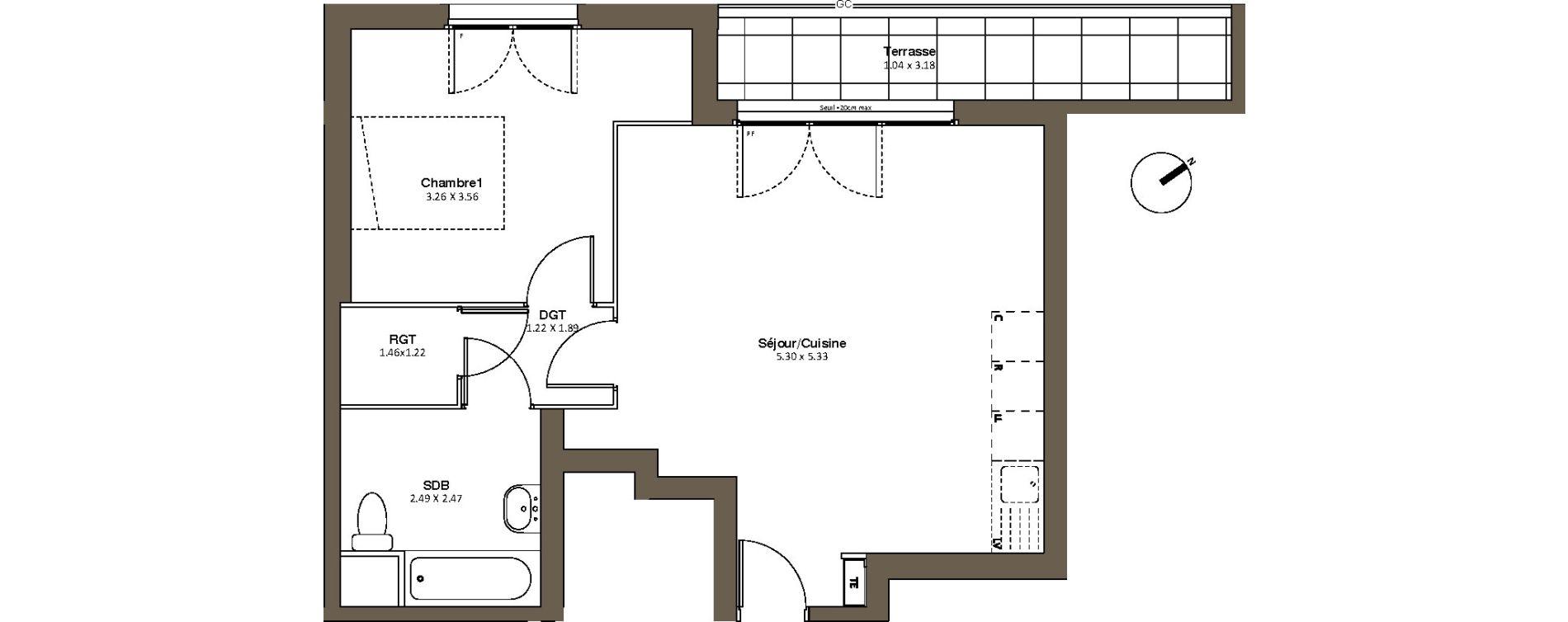 Appartement T2 de 51,49 m2 à Drancy L'economie