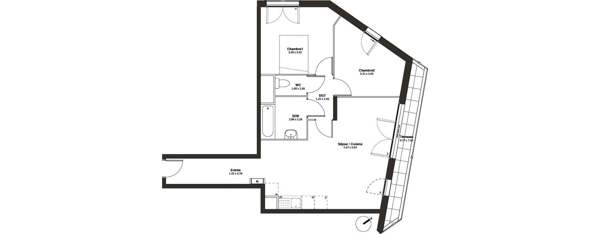 Appartement T3 de 63,57 m2 à Drancy L'economie