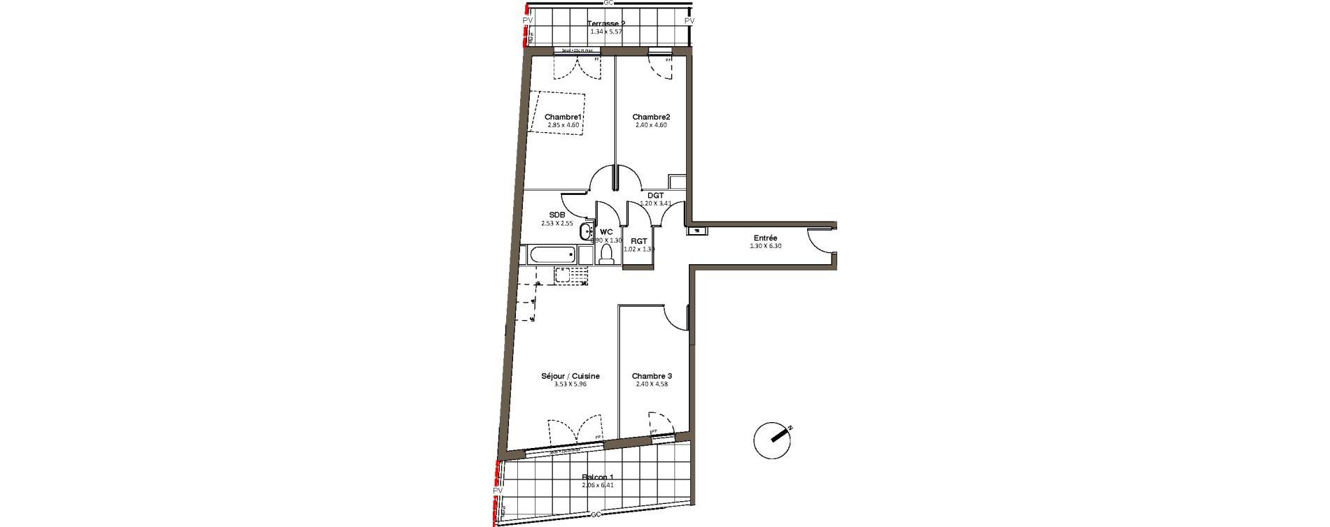 Appartement T4 de 80,36 m2 à Drancy L'economie