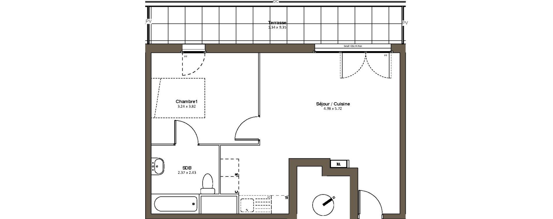 Appartement T2 de 44,30 m2 à Drancy L'economie