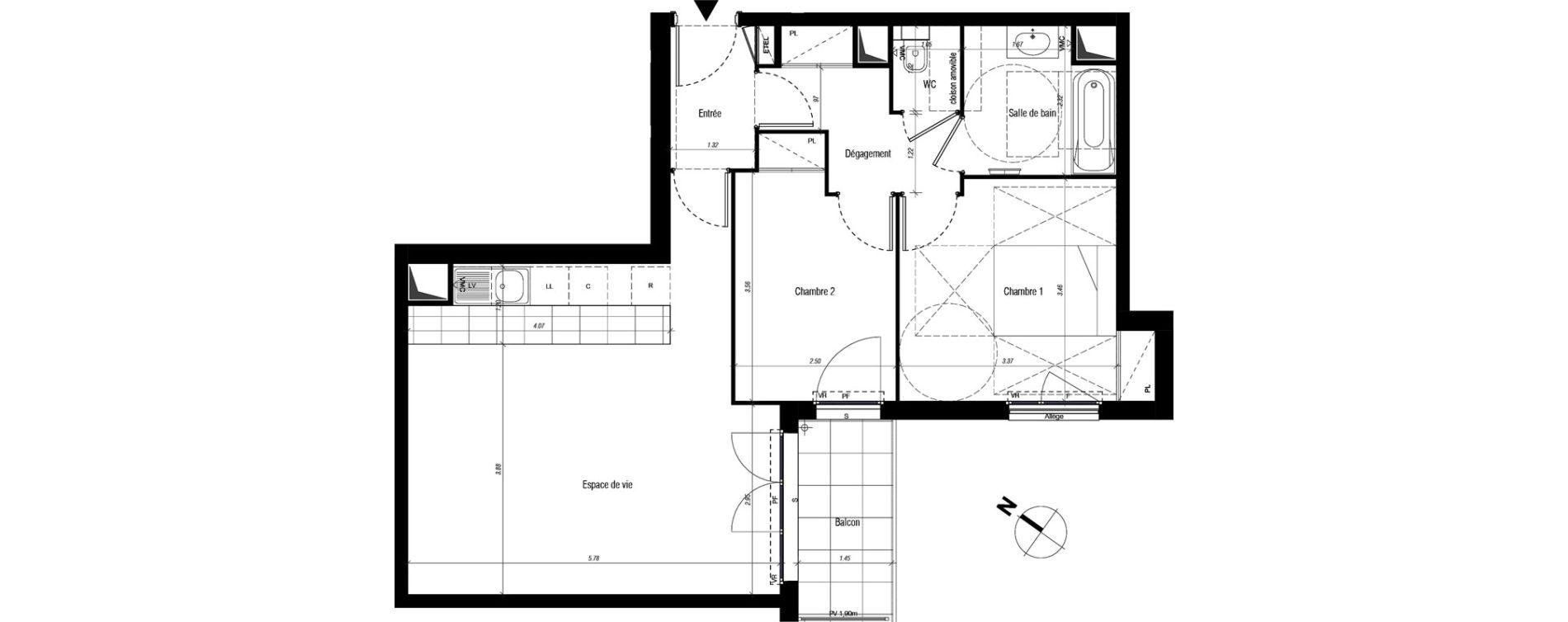 Appartement T3 de 64,40 m2 à Drancy Centre