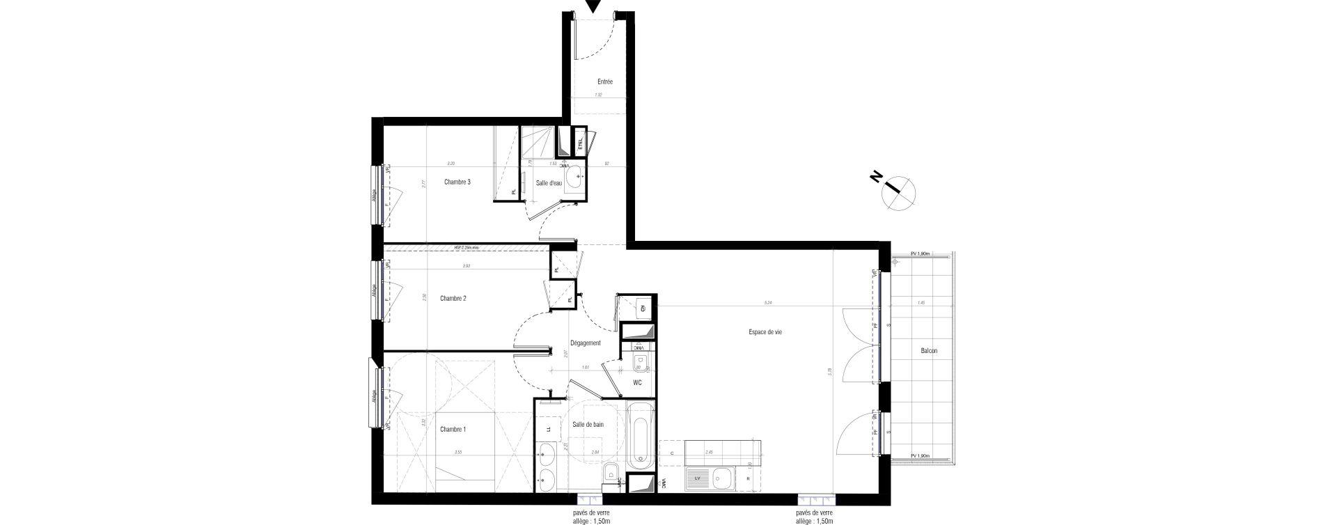 Appartement T4 de 84,70 m2 à Drancy Centre
