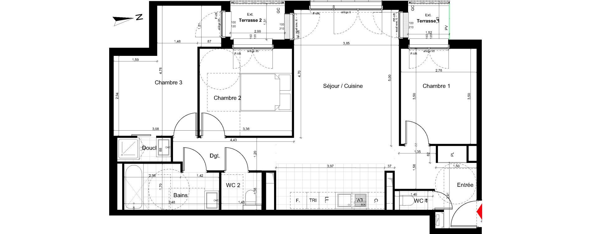 Appartement T4 de 84,00 m2 au Pré-Saint-Gervais Le pre st gervais