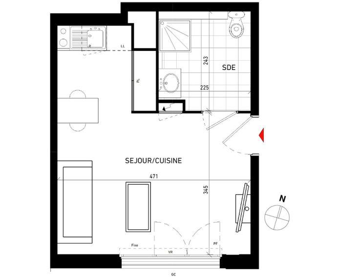 Plan T1 neuf aux Pavillons-sous-Bois de