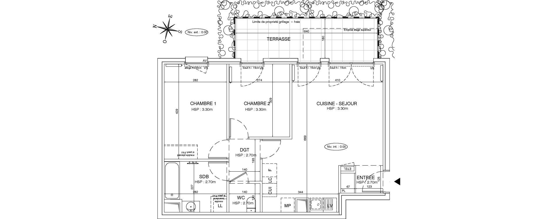 Appartement T3 de 60,98 m2 aux Pavillons-Sous-Bois Centre