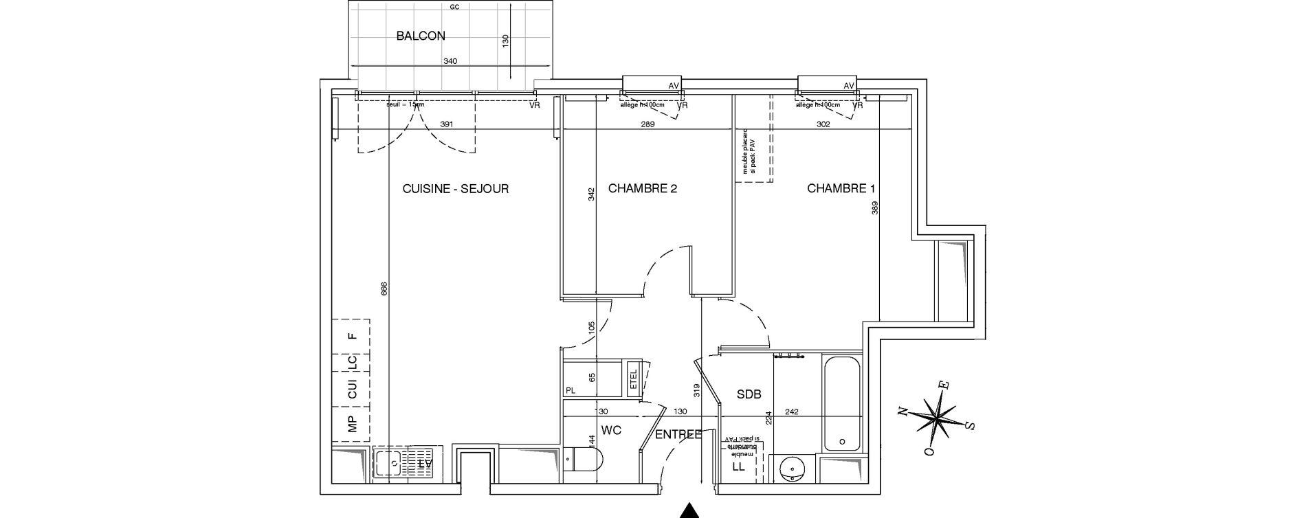 Appartement T3 de 60,86 m2 aux Pavillons-Sous-Bois Centre